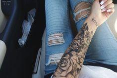 | Tattoo | Rose | Sleeve | Black and white |