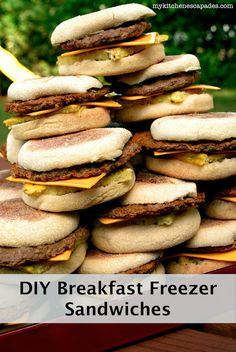 Make your own frozen breakfast sandwiches. You just stick them in the microwave to warm them up before leaving for school or work