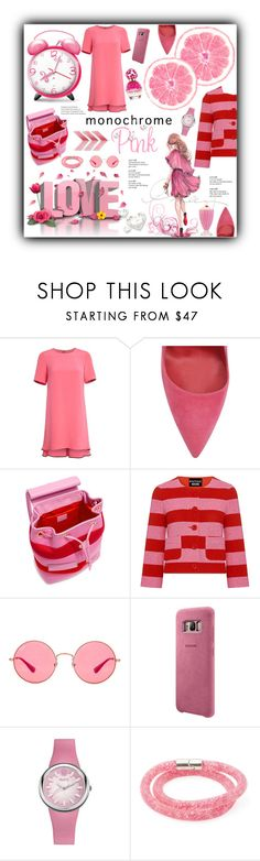 """Monochrome Pink............"" by marina-class ❤ liked on Polyvore featuring ADAM, Dee Keller, Boutique Moschino, Ray-Ban, Samsung, Swarovski, Marc Jacobs, Pink, stylish and fashionable"