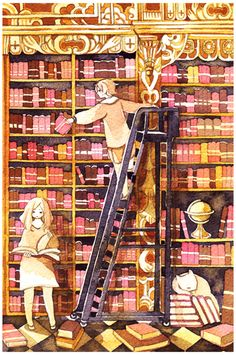 The Golden Room by koyamori (Artist, Canada) via DeviantArt. Library, Books, Ladder, Globe.