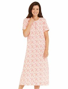 8d6ddfd7ac7e3 All over print nightdress with lace edging to neckline and front button  placket.