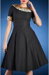 This dress was inspired by 1950'S Starlettes, and will make you feel like a Hollywood starlet! Black is always perfect on all skin types, and the faux leopard print works well ,looks classy, and adds a perfect vintage touch!