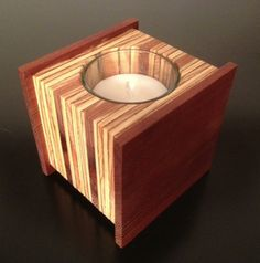 Hand crafted, Eames inspired, modern, midcentury, candle holder - Reclaimed, recycled, upcycled wood, $26.0