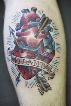 Anatomical heart - with arrows (in colour)