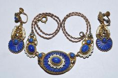 GORGEOUS VINTAGE ART DECO NEIGER BROTHERS ENAMEL NECKLACE AND EARRINGS SET