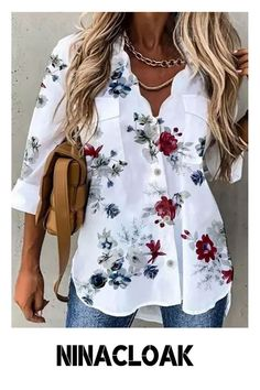 # Cotton-linen Mix # Loose # Leisure / Daily # Fall/Autumn / Winter / Spring # Print # V-neck # Placket # Long Sleeve # women's fashion #
