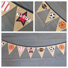 Custom request for a sports theme banner with baseball, basketball, football, soccer and all-star pennants