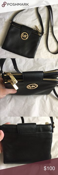 Michael Kors Leather cross-body! Michael Kors black Leather Cross-body! Soft black leather with gold tone hardware! Two zipper compartments and a middle area with card slots! Excellent condition!  Minor scratches on the emblem! 7.5x7 inches. Strap adjustable 23 inches! Michael Kors Bags Crossbody Bags