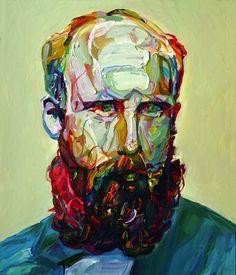 """Aaron Smith, Buck, 2011, oil on panel, 28""""x 24""""."""