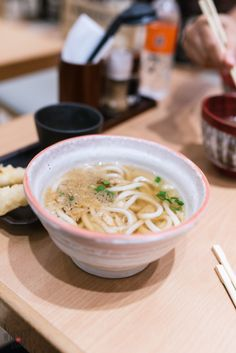 A piping hot bowl of udon at the Takashimaya basement food court in Singapore.