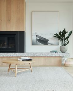 The Spotted Gum Tree House situated at Landcox St, Brighton East was designed by Merrylees Architect Decor, Living Room Inspiration, Fireplace Design, Living Room Designs, Cleaning White Walls, Interior Design, Home Decor, House Interior, Living Room Furniture