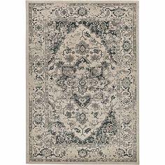 Traditional flowery and geometric decorated 'Ivory Fedora' rug Contemporary Furniture, Furniture Design, Traditional, Rugs, Classic, Fabric, Pattern, Ivory, Home Decor