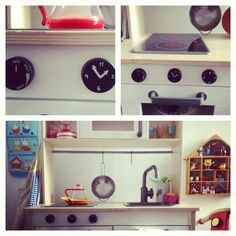 My new instant Diy Project: Magnet knobs for the ikea play Kitchen. Done with ikea magnets, silver pen, metallic plain rings and glue. They also twist. The oven has finally its knobs!