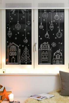 Nordic Christmas, Christmas Mood, Christmas Deco, Christmas Window Display, Christmas Window Decorations, Christmas Chalkboard Art, Christmas Doodles, Window Art, Christmas Inspiration