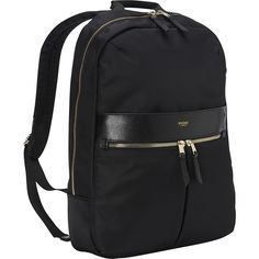 """KNOMO London Beauchamp 14"""" Backpack Laptop Backpack ($179) ❤ liked on Polyvore featuring bags, backpacks, black, business, ladies' business, black pouch, black zipper pouch, laptop pouch, black backpack and black zip pouch"""