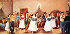 """One of several versions of the Gentilz painting, """"Fandango.""""  Most likely from a fandango he attended in 1844 or later."""