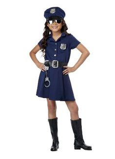 Police Officer Costume for Kids Toddler Small Medium Large X-Large Only 9 In Stock Order Today! Product Description: Make sure those bad guys are off the street, because this cute little officer means business. This Police Officer costume comes with a button-up dress with belt, handcuffs, hat, and badges (2). Sunglasses and boots not included. Key Features: Short Sleeved Button-Up Dress with Separate Belt Police Hat Plastic Handcuffs (2) Badges Sunglasses and boots not included .