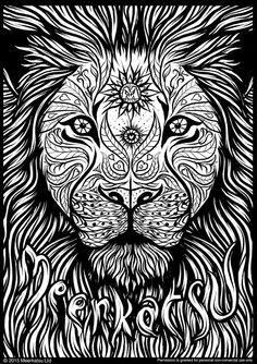 Meerkatsu art – lion colouring page