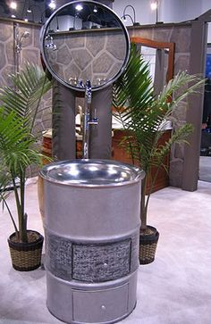 Steel Drum Bathroom Sink and Vanity