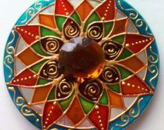 Mandala 16 pétalas em CD reciclado