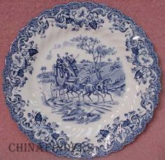 """Johnson Brothers Coaching Scenes, Blue B&B Plate, 6-3/8"""". $9.95 at china_finders on ebay, 5/09/15"""