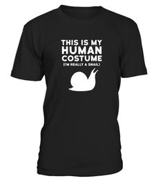 "# This Is My Human Costume I'm Really .   Perfect Halloween Shirt for any slow trick or treat participants! Shirt features great snail image and reads ""This Is My Human Costume I'm Really a Snail"" Great gift for men women kids mom dad boy girl grandma grandpa boyfriend girlfriend - anyone slowpoke snail fan who is celebrating at this year's Halloween Party or candy festivities! *** IMPORTANT *** These shirts are only available for a LIMITED TIME, so act fast and order yours now!TIP: SHARE it…"