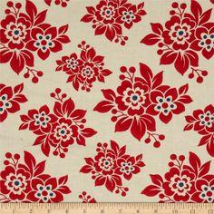 For kitchen valance curtains - Moda Milk Cow Kitchen Feedsack Floral Strawberry Jam Red