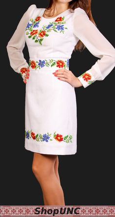 Ukrainian national clothes. Gown. Linen. Embroidery by shopUNC,