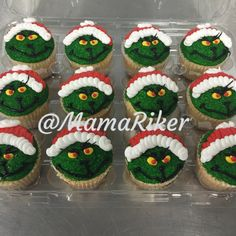 #Grinch. Grinch cupcakes, buttercream iced and rolled in green sugar.   Birthday. Grinch Party.   @MamaRiker   Christmas baking ideas. Christmas cupcakes.