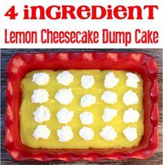 Easy Lemon Cheesecake Dump Cake Recipe! (4 Ingredients) - Never Ending Journeys Lemon Dump Cake Recipe, Spice Dump Cake Recipe, Lemon Cake Mixes, Dump Cake Recipes, Dessert Recipes, Easy Recipes, Lemon Recipes, Popular Recipes, Summer Recipes