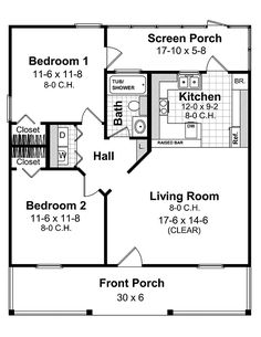 First Floor Plan Of 1 Bathroom 2 Bedroom Country Farmhouse House 59098 With Screened