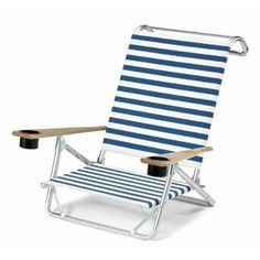 Blue & White Stripe Mini Chaise Beach Chair Low Boy with Cup Holders - Only $129.99!