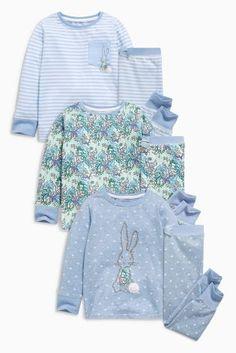 קנה מארז שלוש פיג'מות כחולות עם אפליקציית ארנבת (9 חודשים-8 שנים) לקנייה היום באתר נקסט ישראה