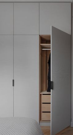 When you open the tall cabinet, we want hanging space and additional drawer spac. When you open the tall cabinet, we want hanging space and additional drawer spac… – Kathrin Kos Bedroom Cupboard Designs, Wardrobe Design Bedroom, Bedroom Cupboards, Wardrobe Doors, Wardrobe Closet, Built In Wardrobe, Closet Bedroom, Master Closet, Bedroom Cupboard Doors