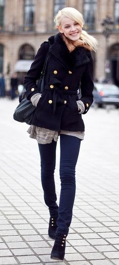 Cute pea coat and skinnies with boots