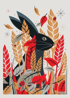 Woodland illustration, easter illustration, nature prints, folk art, neil s Nature Prints, Art Prints, Graphic Prints, Graphic Art, Graphic Design, Rabbit Illustration, Woodland Illustration, Vintage Illustration Art, Technical Illustration