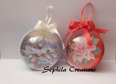 Tutorial: Decoupage e glitter su sfera di plastica (christmas decoration...