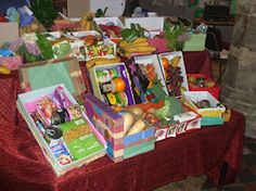 """Taking your harvest boxes into school for the annual Harvest Festival. We used to have to sing,""""We Plough The Fields And Scatter """"."""