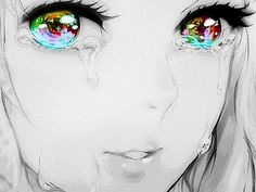 Beautiful anime girl crying