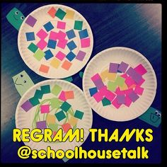 "Thank You, @schoolhousetalk for the adorable activity regram!  I should buy stock in paper plates.Today we made snails, and I love how they turned out!  Kiddos were able to practice cutting and gluing, following directions, requesting (""I want blue square please.""), and artic sounds as they glued on the colorful squares.  #slpeeps #schoolslp #instaslp @ashaigers #speechtherapy #speechpathology #speechlanguagepathology #speechpath #slp2be #speechies #slp  #preschoolslp #pediOT, ..."
