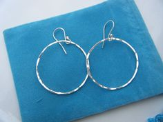 Hand Forged Sterling Silver Ear Hoops  Hammered for by kzoretic, $20.00