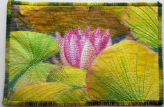 Waterlily  ThreadPainted Fabric Postcard  6 x by AngiesTextileArt, £14.00