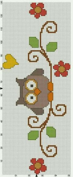 This Pin was discovered by Nük Cross Stitch Owl, Cross Stitch Bookmarks, Cross Stitch Cards, Cross Stitch Borders, Cross Stitch Animals, Cross Stitch Designs, Cross Stitching, Cross Stitch Embroidery, Hand Embroidery