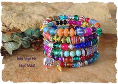 Gypsy Bohemian Beaded Bracelet, Layered Bracelet, Boho Gypsy Indie Bracelet…