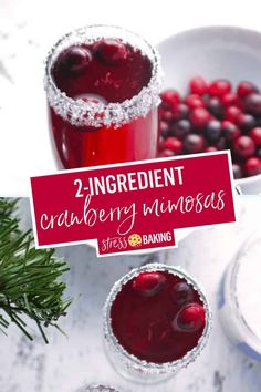 A cranberry lover's version of the standard mimosa. Tart cranberries pair perfectly with a sugar-rimmed glass and sparkling champagne bubbles! The perfect holiday cocktail or Christmas cocktail - also known as a Poinsettia. | cranberry mimosas | cranberry cocktail | cranberry champagne | easy cocktail | christmas cocktail | poinsettia | champagne and juice | cranberry champagne cocktail | stress baking recipes | stressbaking.com #stressbaking #holidays #christmas #thanksgiving #newyears Cranberry Champagne Cocktail, Drinks With Cranberry Juice, Cranberry Mimosa, Cranberry Recipes, Holiday Recipes, Fall Recipes, Christmas Cocktails, Holiday Drinks, Holiday Punch