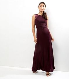 AX Paris Dark Purple Lace Panel Sleeveless Maxi Dress | New Look