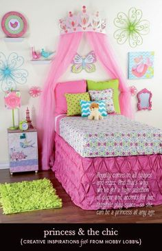 Update your little girl's room with a fun princess theme in pinks, greens and blues.