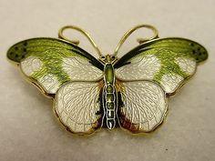 Hroar Prydz Norway Sterling Silver Gold Green White Enamel Butterfly Pin Brooch