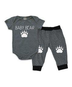 Charcoal Baby Bear Bodysuit & Harem Pants - Infant | zulily