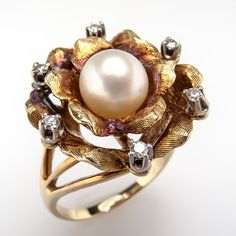 Vintage Cocktail Ring Pearl & Diamond Floral Motif Solid 14K Gold Estate Jewelry | eBay